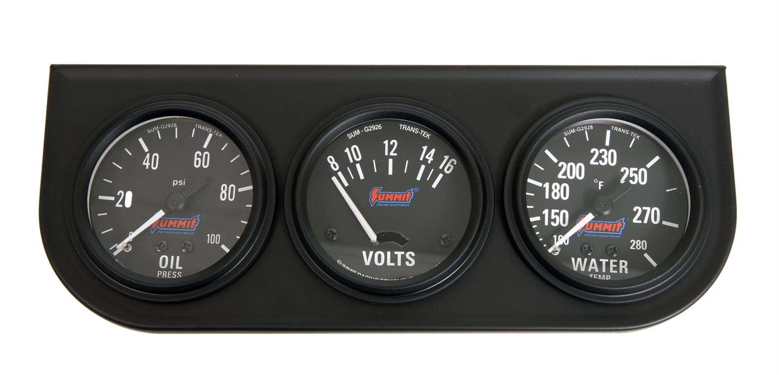 "Summit Gauge Kit Analog Console 2 5//8/"" Water Temperature Oil PSI Voltmeter"