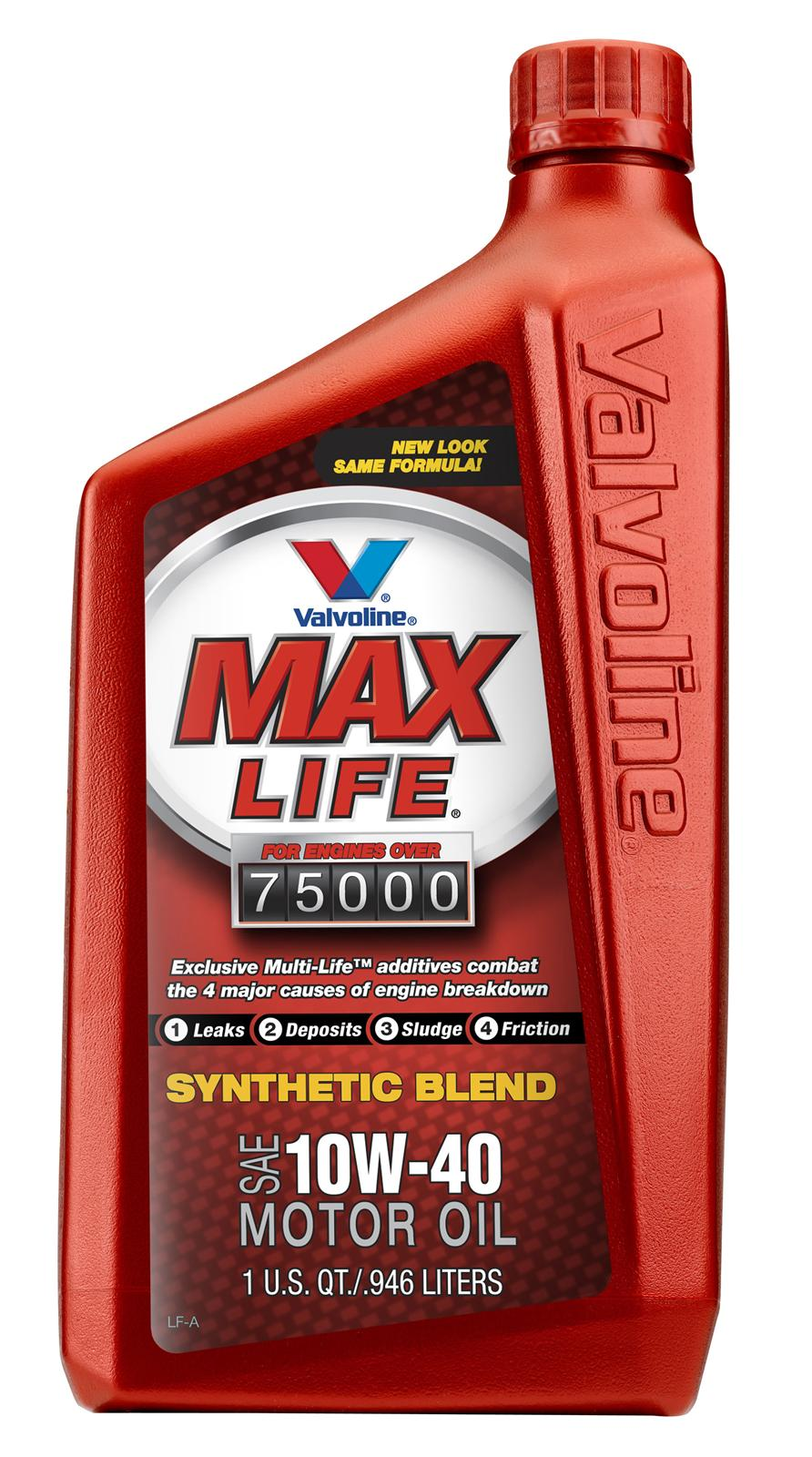 Valvoline MaxLife is the first motor oil specially formulated to address the unique needs of higher mileage engines. Valvoline MaxLife is a blend of synthetic and premium conventional basestocks with seal conditioning agents, extra cleaning agents, additional anti-wear additives and novel friction modifiers for added protection.