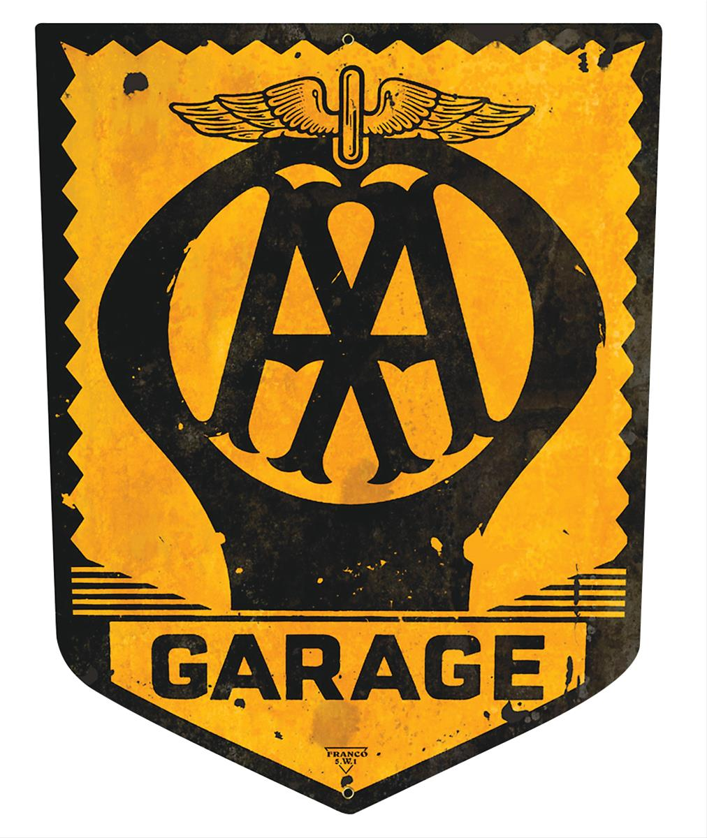 Aa garage crest steel sign ps398 free shipping on orders for Vintage garage signs uk